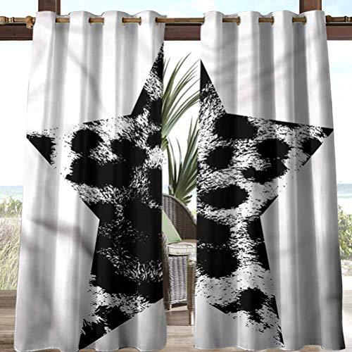 Anmaseven Leopard Print Polyester Outdoor Curtain Pergola | Cabana |Backyard| Garden| Wedding Star Shape Grunge 118' W by 95' L(K299cm x G241cm)