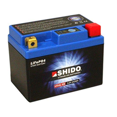 Motorrad Batterie Shido Lithium LTX4L-BS / YTX4L-BS, 12V/3AH (Maße: 114x71x86)
