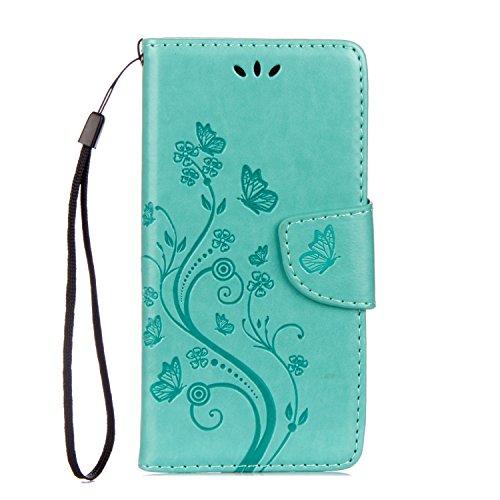 Sunrive Hülle Für Samsung Galaxy Xcover 4, Magnetisch Schaltfläche Ledertasche Schutzhülle Case Handyhülle Schalen Handy Tasche Lederhülle(Prägung Grün s)+Gratis Universal Eingabestift