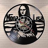 Reloj de Vinilo -30cm Lisa Decoración para el hogar Arte de la Pared Reloj de Pared Leonardo da Vinci Pintura Famosa Disco de Vinilo Reloj de Pared Decoración del Artista Amantes del Arte Regalo