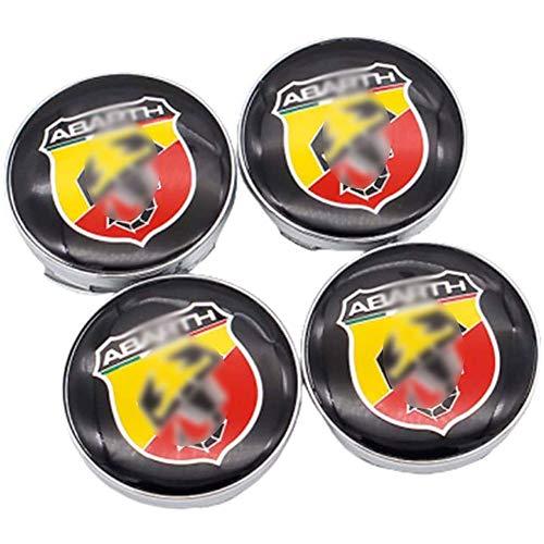 JYEBJD 4 Pezzi Cappucci Centrali delle Ruote Adesivo Distintivo 3D per Fiat Abarth, Coperture Antipolvere per Ruote Cover con Stemma Distintivo Adesivi Logo Wheel Trim Accessori, 60MM