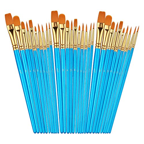 Sooez 30Pcs Art Paint Brushes Set Round Pointed Tip Nylon Hair Art Brushes for Acrylic Oil Watercolor 10 Different Sizes for Body Nail Face Painting Adult Kids Drawing Arts Crafts Supplies
