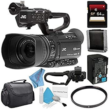 JVC GY-HM250 GY-HM250U UHD 4K Streaming Camcorder + 64GB SDXC Card + 62mm UV Filter + Memory Card Wallet + Carrying Case + Deluxe Cleaning Kit + Fibercloth Bundle