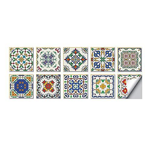 10 pegatinas para azulejos de pared, suelo y pared, autoadhesivas, para cocina, sala de estar, baño, decoración del hogar (15 x 15 cm) (C)