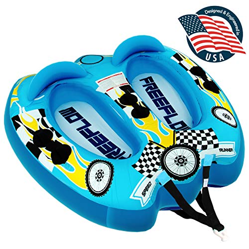 Watersports Inflatable Towable Booster Tube - Two Person Water Boating Float Tow Raft, Inflatable Pull Boats/Tubes/Towables w/ Dual Seats, PVC Bladder, Foam Pad, Nylon Handles - SereneLife SLTOWBL10