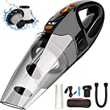 Portable Handheld Vacuum,7500Pa Cyclonic Suction,Cordless Hand Vac Cleaner with LED Light and Steel HEPA,Li-ion Rechargeable Battery Quick Charge Tech,Wet Dry Mini Cleaner for Home Car,Carry Bag