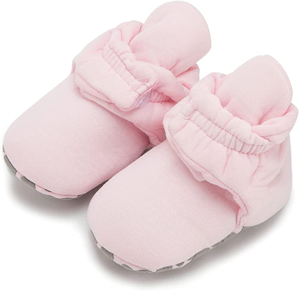 Newborn Infant Unisex Baby Booties for 0-6/6-12/12-18 Months Adjustable Soft Stay-on Baby Shoes