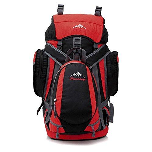 ruifu Sac à dos de randonnée étanche Voyage Camping Sac à dos 55L Sac à dos photo Paquet rouge Rouge