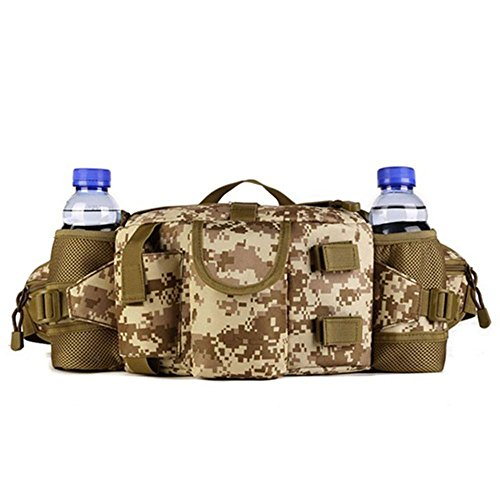 Greenpromise Doppelte Wasserflasche für Herren, Nylon, Hüfttasche, Sporttasche, Gürtel, taktischer Militär, Reisen, Wandern, Camping, taktischer Rucksack (Desert Digital)