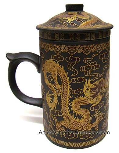 Chinese Teaware/Chinese Porcelain/Chinese Tea Cups: Yi Xing Clay Tea Mug (with Lid & Removable Strainer) - Golden Dragon Symbol
