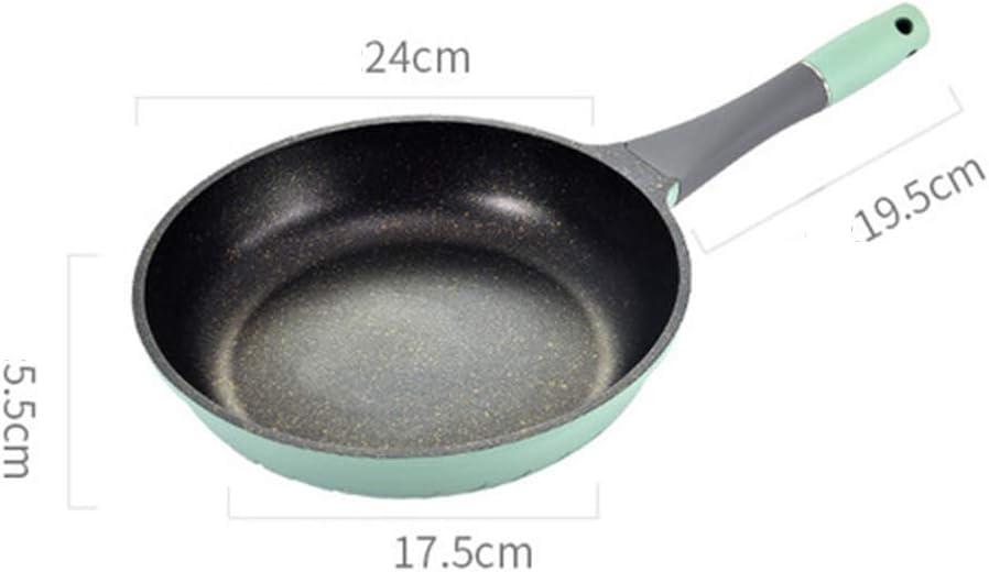 Poêle profonde24CM revêtement antiadhésif Aluminium sans huile-utilisation fumée-pour cuisinière à Induction gaz,Vert Blue