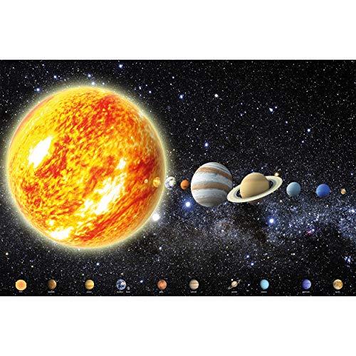 GREAT ART Fototapete – Sonnensystem Planeten – Wandbild Dekoration Galaxie Cosmos Space Universum All Sky Sterne Galaxy Weltraum Earth Foto-Tapete Wandtapete (336 x 238 cm)