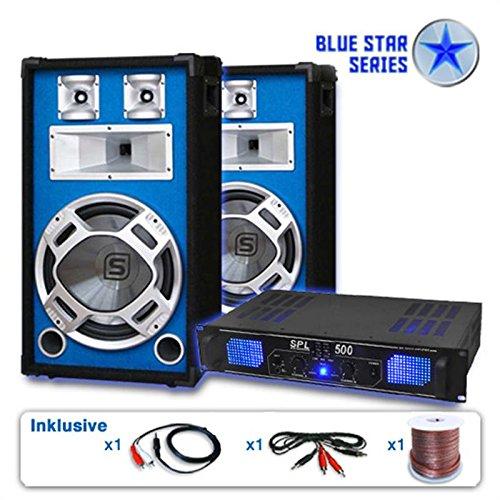 Unbekannt PA Set Blue Star Series Basskick 1600Watt 1 Verstärker 2Boxen