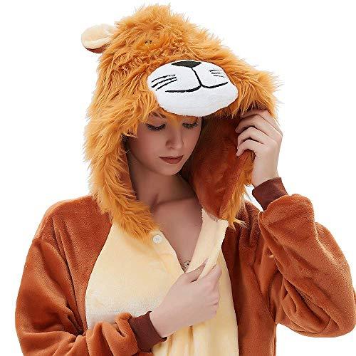 ABYED® Löwe Kostüm Jumpsuit Onesie Tiere Fasching Karneval Halloween Faschingskostueme Erwachsene Cosplay Schlafanzug Maedchen Herren Kinder