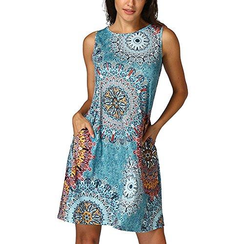 VEMOW Vestido Mujer Mujeres Verano Manga Corta Floral Bolsillos Impresos Vestido de oscilación Ocasional de Sundress(P Multicolor,L)