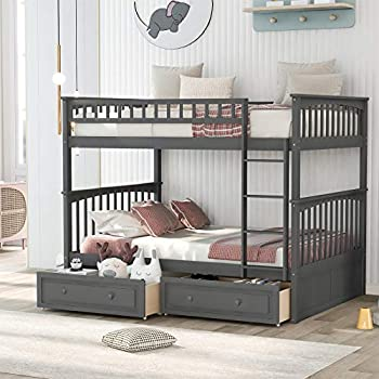 Full Over Full Bunk Bed with Drawers Wooden Bunk Bed Frame Gray