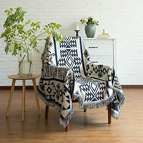 """willstar Throw Blanket for Couch 35x35"""",Knitted Geometry Blanket with Fringe for Chair Sofa Bed Picnic Camping (Geometric)"""