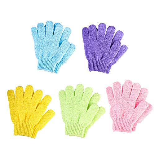 Schneespitze 5 Paar Peeling Handschuhe,Dusche Handschuh,Body Scrubbing Handschuh,Badehandschuhe Doppelseitige für Kinder,Männer Frauen