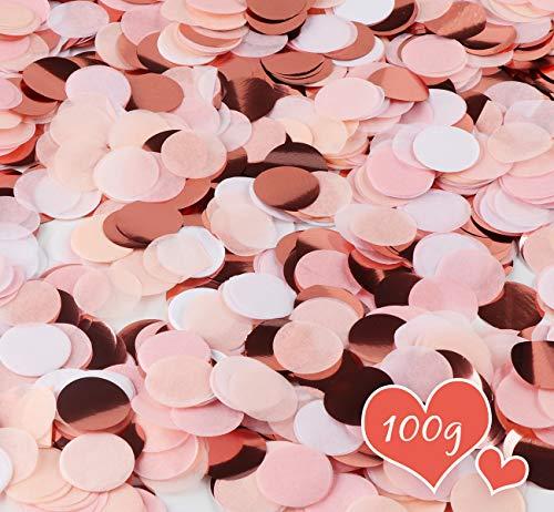 ABSOFINE 100g Konfetti Roségold mehrfarbig, Konfetti deko 2,5cm Rund 8000 Stück Seidenpapier Konfetti Tischdeko, Metallic Streudeko für Hochzeit, Geburtstag, Taufe, Valentinstag