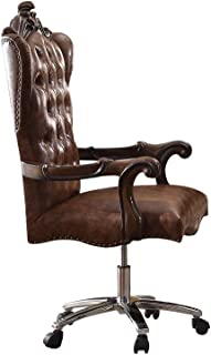ACME Versailles Light Brown Faux Leather Chair with Swivel and Lift