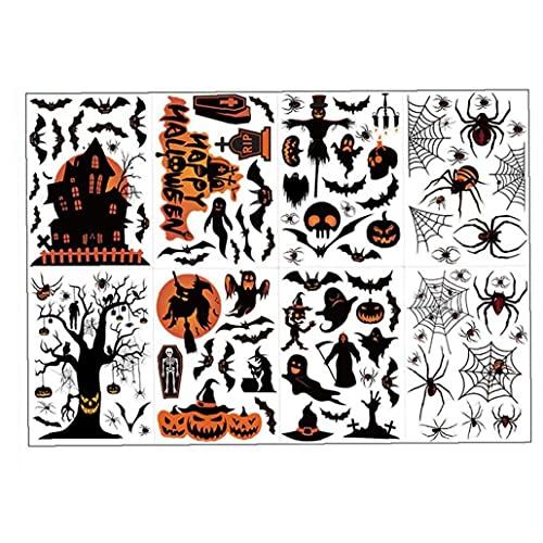 NIDONE Ventana de Pared de Halloween Ventana de murciélago Araña Pegatina de Calabaza Spooky Mural Art Cling Prop