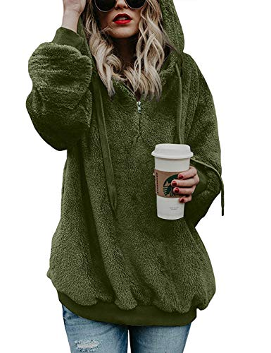 Lomon Winterjacke Damen Einfarbig Lose Langarm Teddy-Mantel Flauschiger Reißverschluss Frauen Pullover(Armee Grün,M)