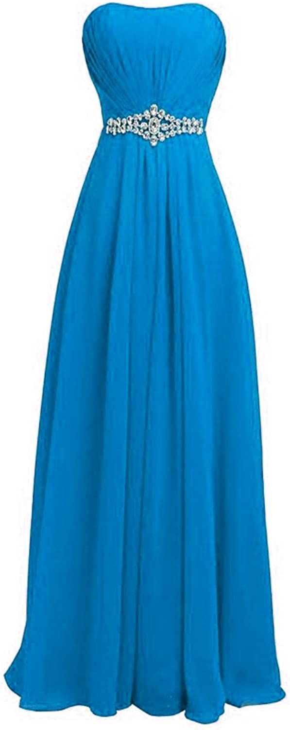 Fanciest Women's Strapless Beaded Bridesmaid Dresses Long Prom Gowns