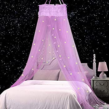 Jeteven Bed Canopy Lace Mosquito Net with Stars Snowflake