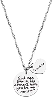 NIANXIN Grandpa Grandma Memorial Necklace Engraved God Has You in His Arms I Have You in My Heart Pendant Necklace for Lov...