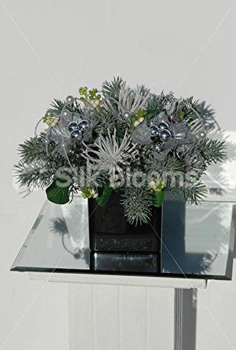 Vaso cubico Homewear W/abete rosso e argento di Natale in argento