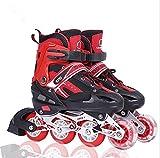 Rollers en Ligne à Taille Réglable Patins pour Enfants, Adolescents, Adultes, Débutants (Rouge, M (EU 35-38))