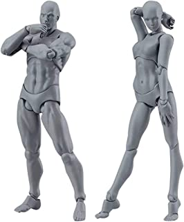 RXING Action Figure Model Human Mannequin Man and Woman Set, Drawing Figures for Artists with Accessories Kit for Sketchin...