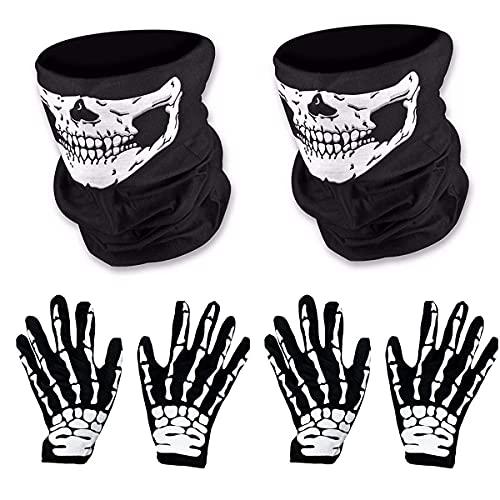 O-Kinee 2 Pares de Mascara Disfraz Halloween de Calavera y Guantes de Esqueleto para Adultos Halloween Danza Fiesta de Disfraz