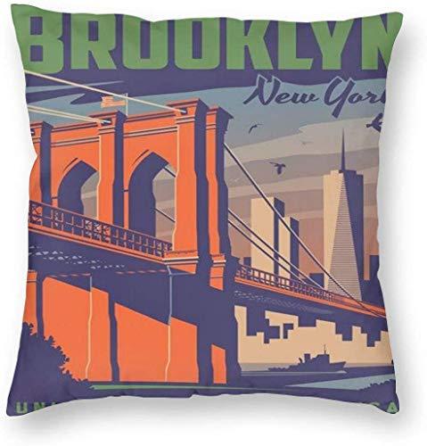 BONRI Brooklyn Poster Pillowslip Funda de Almohada única Cojines creativos Fundas de Fundas con Cremallera Funda de Almohada con Estampado Decorativo para el hogar para sofá Sofá , (16'x16 / 40x40cm