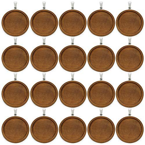 20 bandejas de madera para colgantes, conectores de cabujón redondos, base para colgar, colgante en blanco con aro, bandeja de cabujones de madera para manualidades, collares y bisutería. 30 mm