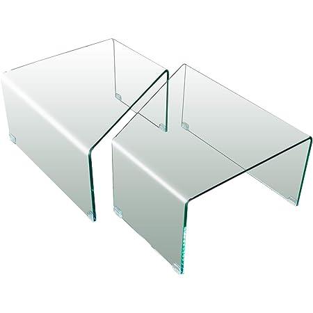 Tavolino Basso Rettangolare Da Salotto Soggiorno Sala Da Pranzo Tavolo Da Caff/è In Vetro Temperato Curvato Con Ripiano Design Moderno Elegante Luxury Z-105 40 x 40 x 60 Cm
