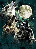 Rompecabezas De 1000 Piezas,Serie De Animales Wolf Howl Wooden Family Puzzle Set, Desafío Cerebral Infantil Jigsaw Games, Rompecabezas Intelectuales De Educación Padre-Hijo Juguete, Decoración De