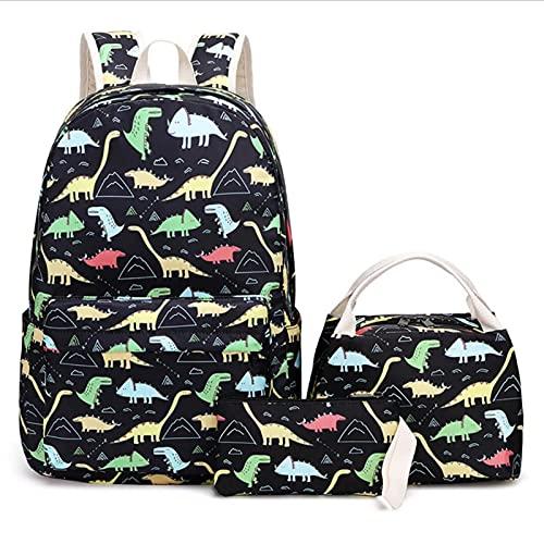 AIHOME Mochila de dinosaurios para niños, con caja de almuerzo y estuche para lápices, juego de libros escolares de dinosaurios para mochila preescolar, niños pequeños y niñas