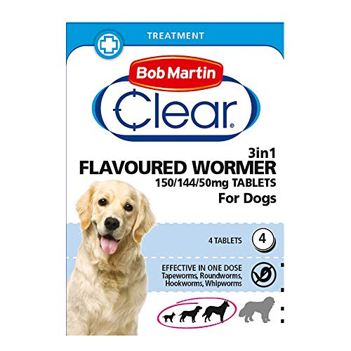 Bob Martin Clear | 3 in 1 Wormer Tablets for Small, Medium & Large Dogs (up to 40 kg) | Clinically Proven Treatment (4 Tablets)