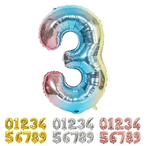 Ponmoo Foil Globo Número 3 Azul, Gigante Numeros 0 1 2 3 4 5 6 7 8 9 10-19 20-29 30 40 50 60 70 80 90 100, Grande Globos para La Boda Aniversario, Globo de Cumpleaños Fiesta Decoración