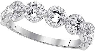 Mia Diamonds 10kt White Gold Womens Round Diamond Link Band Ring (.25cttw) (I2-I3)- Size -7