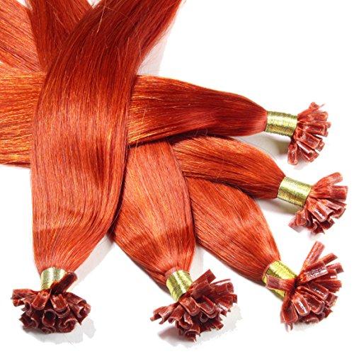Just Beautiful Hair and Cosmetics Lot de 100 extensions de cheveux naturels Remy Hair avec points de kératine pour pose à chaud Rouge cuivré (350) 60 cm