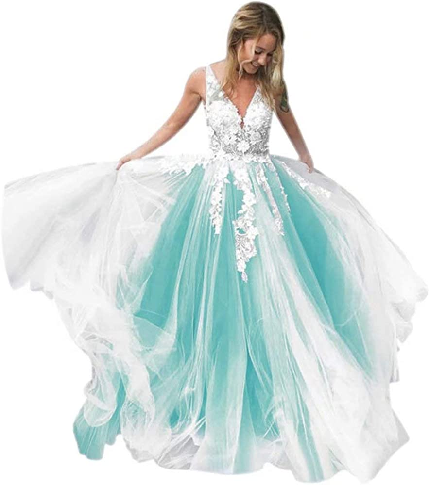 QueenBridal Women's Wedding Gown for Bride Tulle Lace Applique Long Evening Prom Dress QU197