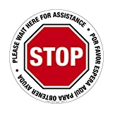 Please Wait Here for Assistance - Stop English/Spanish 15 Inch Circle Floor Sign, Vinyl