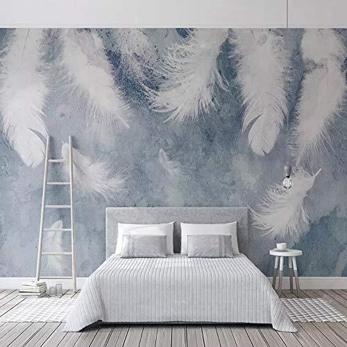 4D Tapeten Wandbilder,Nordic Minimalistisch Weiße Feder Hd Drucken Seide Wandbild Tapeten Groß Foto Wand Dekor Bild Für Wohnzimmer Flur Sofa Tv Hintergrund, 80 × 120 In 200 Cm (H) X 300 Cm (W)
