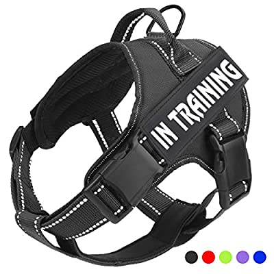 No Pull Dog Harness with Reflective Straps Adjustable Service Dogs Vest with Nylon Handle Easy Walker in Training Pet Halters with Hook Oxford Fabric for Small Medium Large Dogs