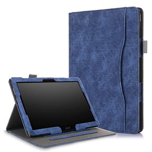 Xuanbeier Multifunktional hülle Kompatibel mit Lenovo M10(TB-X505F TB-X505L TB-X605F TB-X605L) / P10(TB-X705F) 10.1 Zoll Tablette mit Multi-Winkel & Handhalter, Dunkelblau