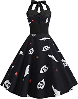 Auimank Women Vintage Long Sleeve Halloween 50s Housewife Evening Party Prom Dress