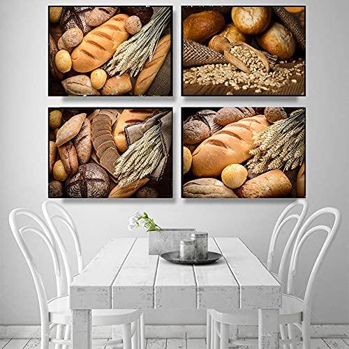 LZASMMVP Home Decor Wall Art Poster modulari Immagini Pane Integrale Cibo salutare Stampe su Tela in Stile Nordico per Cucina Wall Art|30X50cmx4 Senza Cornice