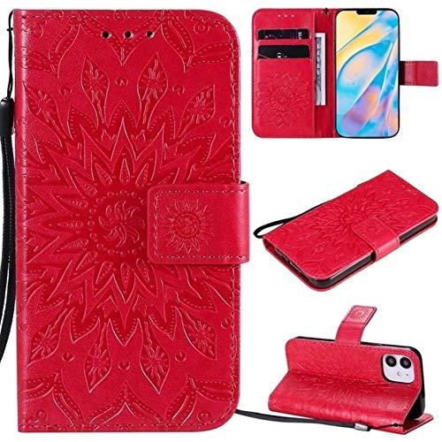 JDDRCASE Caja Protectora de la Cuerda de Seguridad Girasol diseño de la impresión de la PU del tirón del Cuero de la Carpeta for iPhone 12 (6.1 Pulgadas, cámaras duales) (Color : Rojo)
